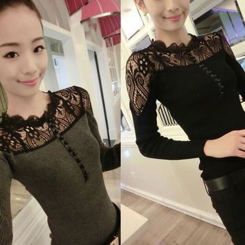 New Women Lady Long Sleeve Knit Lace Turtleneck Tops Tee T-Shirt Jumper Sweater = 1958046084
