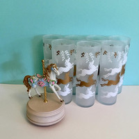 Libbey Cavalcade Collins Glasses, 7 Libbey Carousel Frosted Tom Collins Glasses, Merry-Go-Round Tumblers, Frosted Horse Iced Tea Glasses