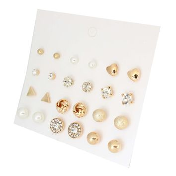 12 Pairs/Set Round Alloy Ball Pearls Rhinestone Flowers Stud Earrings Set Hot Selling Small Pierced Earrings Set For Women