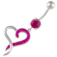 heart dangle belly button rings piercing navel jewelry dangle 1.6mm 3/8 10mm Heart Fuchsia Ferido Crystal bar 1346
