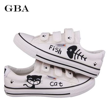 Gba New 2018 Summer Graffiti Canvas Shoes Flat Hand Painted Cartoon Women Shoes White Size 35~44 Hot Sales Plus Zapatos Mujer