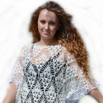 Ivory crocheted poncho