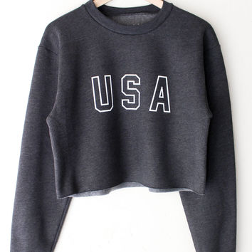 USA Cropped Sweater
