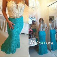 Ivory / Jade Sheer Back Lace Mermaid Plunging Sweetheart Prom Dress With Pearls