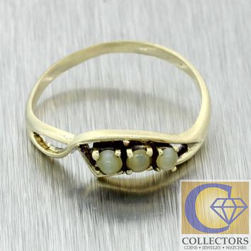 1930s Antique Art Deco Estate 14k Yellow Gold Cats Eye Chrysoberyl Band Ring