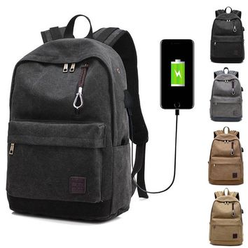 High Quality Men Women Laptop Backpack Canvas Travel USB Charge Computer Anti-theft Shoulder Bag Casual Rucksack Popular