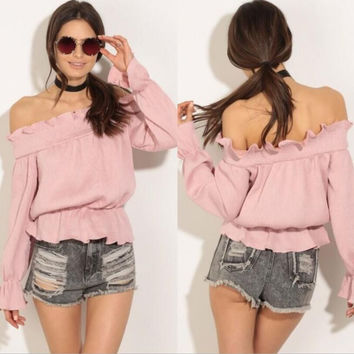 Pink Flounced Collar Off Shoulder Long Sleeve T-Shirt