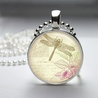Dragonfly Glass Tile Round Bezel Pendant Necklace