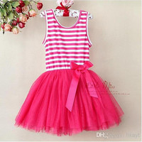 Princess Girl Stripe Tiered Lace Yarn Veil Pleated Sleeveless Dress Kid Clothing Layered Chiffon Tulle Ruffle Vest Dresses.