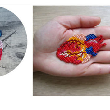 Anatomical heart necklace / brooch / patch. Anatomically correct heart jewelry. Human heart jewelry