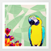 Parrot in Paradise Art Print by Bunhugger Design