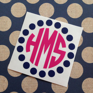 Polka Dot Monogram | Circle Monogram | Laptop Monogram  | Car Monogram | Notebook Monogram