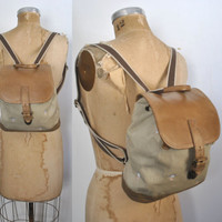 L.L Bean Canvas and Leather Backpack / Bookbag