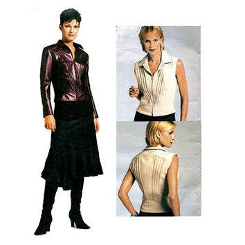 VOGUE Top & Skirt Pattern Front Zip Synthetic Leather Top, Asymmetrical Flared Skirt Vogue 2704 Bust 36 38 40 UNCuT Women's Sewing Patterns