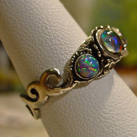 Genuine Australian Opal ring Hand Crafted Fine Silver Filigree setting.Real Opal. Fine Silver from Metal Clay.Natural Opal ring engagement