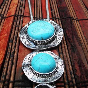 Southwestern Style Triple Turquoise Silver Necklace