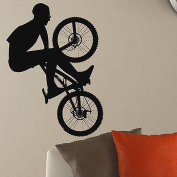 WALL DECAL VINYL STICKER SPORT BOY CYCLING BICYCLE DECOR SB181