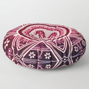 Glowing Indian Elephants Mandala In Pink & Blue Floor Pillow by inspiredimages