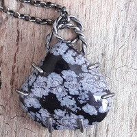 Snowflake Obsidian and Oxidized Silver Pendant Necklace - Healing Stone Necklace - Black Stone Necklace - Volcanic Glass - Obsidian Jewelry