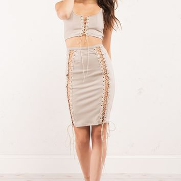 Ribbed Lace Up Front Crop Top in Tan