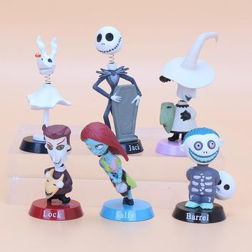 Nightmare Before Christmas Jack Skellington Moving Action Figure Collection Toy Doll 6pcs/lot