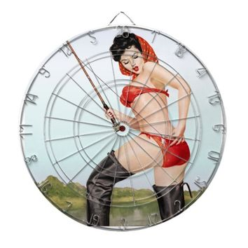 Today's Catch Pin Up Fishing Girl Dartboard With Darts