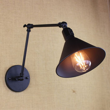 Antique Black Reto Industrial Metal Shade Mini Wall Lamp W/ Long Swing Arm For Workroom Bedside Bedroom Illumination Sconce