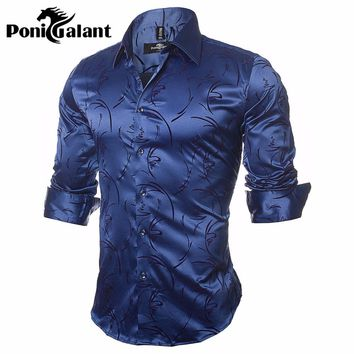 PoniGalant High Quality Silk & Cotton Men Shirts Fashion Long Sleeve Brand Printed Male Clothing Asian Size M-5XL