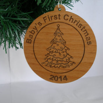 Baby's First Christmas  Personalized blank back ornament wood engraved  Christmas gift