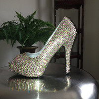 Pink and Green Crystallized High Heels