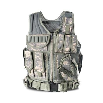 Tactical Vest Outdoor Camouflage Military Body Armor Sports Wear Hunting Vest Army Swat Vest Black