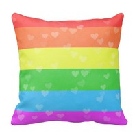 Rainbow With Hearts Valentine's Day LGBT Throw Pillows