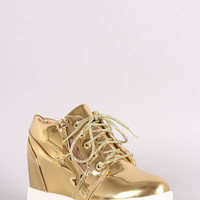 Liliana Zipper Trim Lace Up Wedge Sneaker