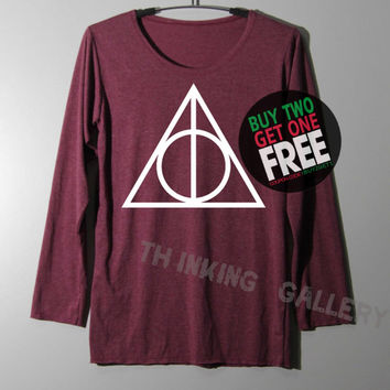DEATHLY HALLOWS Shirt Harry Potter Shirts Long Sleeve TShirt T Shirt - Size S M L