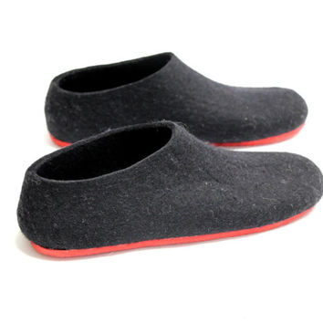 Felted Black Slippers - Wool Shoes - Minimalist Shoes - House Shoes - Womens Shoes - Rubber Soles - Christmas in July - Mothers Day Gift