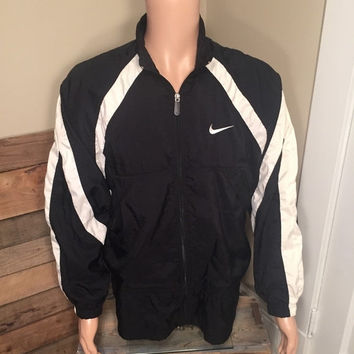 15% OFF SALE NIKE zip up windbreaker // Vintage Nike windbreaker // Nike swoosh // 90s Nike light weight jacket // 90s black & white striped