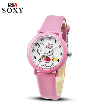 Hello Kitty Watch Children's Watches Cute Candy Leather Kids Watches Cartoon Baby Girl Wrist watch Gift Clock saat reloj relogio