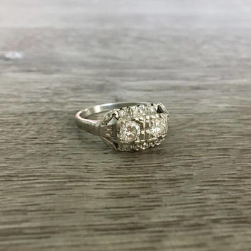 Vintage Art Deco Diamond Ring in 18k White Gold, Old European Diamonds F SI1, 1/2 Carat total, Size US 6  (ring sizing available)