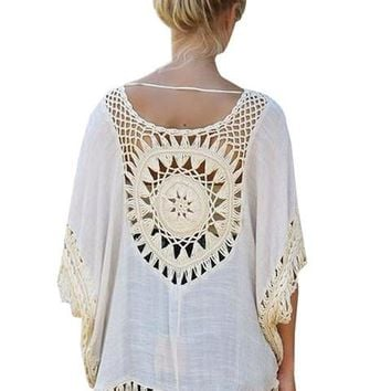 Sheer Floral Pattern Crochet Boho Women Loose Blouse Summer Oversized Bohemian Shirt Hollou Big Size Knit 2016 Casual Fashion