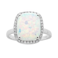10k White Gold .15-ct. T.W. Diamond & Lab-Created Opal Frame Ring