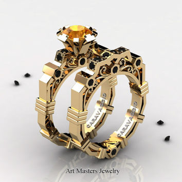 Caravaggio Modern 14K Yellow Gold 1.0 Ct Yellow Citrine Black Diamond Engagement Ring Wedding Band Set R624S-14KYGBDYC