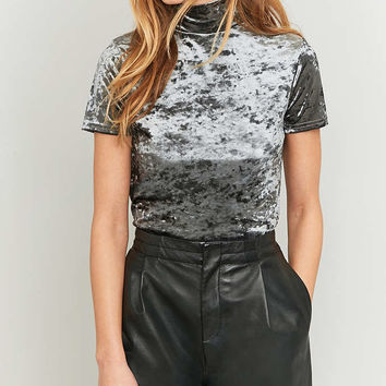 Urban Renewal Vintage Remnants Grey Marble Velvet Mock Neck Top - Urban Outfitters