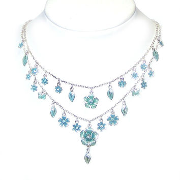 Multi Strand Layering Chain Bib Necklace - Charm Fringe, Bright Silver, Teal Blue