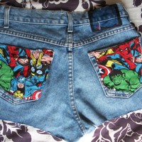 The Avengers Marvel Comic Red Bow Thor Captain America Spiderman Birthday Party Wolverine Widow Hulk Iron Man Cut Off Denim Jean Shorts