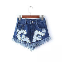 Summer Rivet Ripped Holes Rinsed Denim Tassels Casual Shorts Pants Jeans [6050339201]