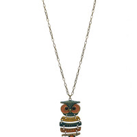 Tri-tone Wisdom Owl Necklace