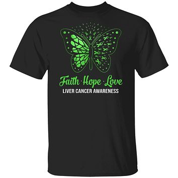 Faith Hope Love Green Butterfly Liver Cancer Awareness