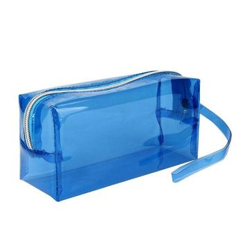 DCCKV2S Outtop Cute Clear Pen Pencil Case Holder Makeup with Zipper for Boys Girls