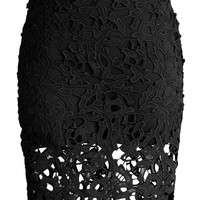 Charme Crochet Lace Pencil Skirt in Black Black