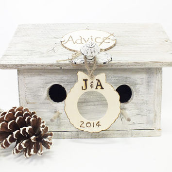 Advice For The Bride And Groom Birdhouse Rustic Christmas Wedding Decor Reclaimed Whitewashed Wood Personalized Gift For Bride And Groom